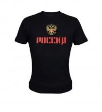 T-Shirt Russland Schwarz-Gold, 100%-Baumwolle