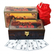 Brettspiel Russkoe Loto in lackierter Holzschatulle Русское лото