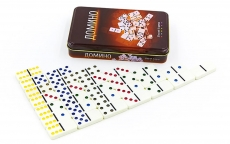 Brettspiel Domino - farbig in Metalbox