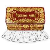Russisches Lotto Brettspiel in Metallbox Hochloma