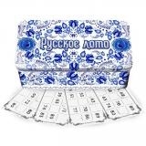 Russisches Lotto Brettspiel in Metallbox Gzhel